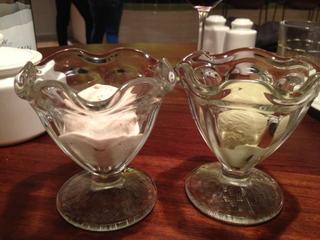 Left Peanut Butter Ice Cream, Right Pistachio Ice Cream
