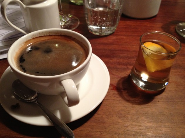 Coffee & Homemade apricot and peach Vermouth-here endeth the meal